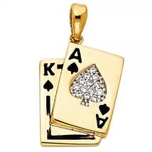 14K Yellow Gold & Enamel CZ A & K Card Pendant - $189.99
