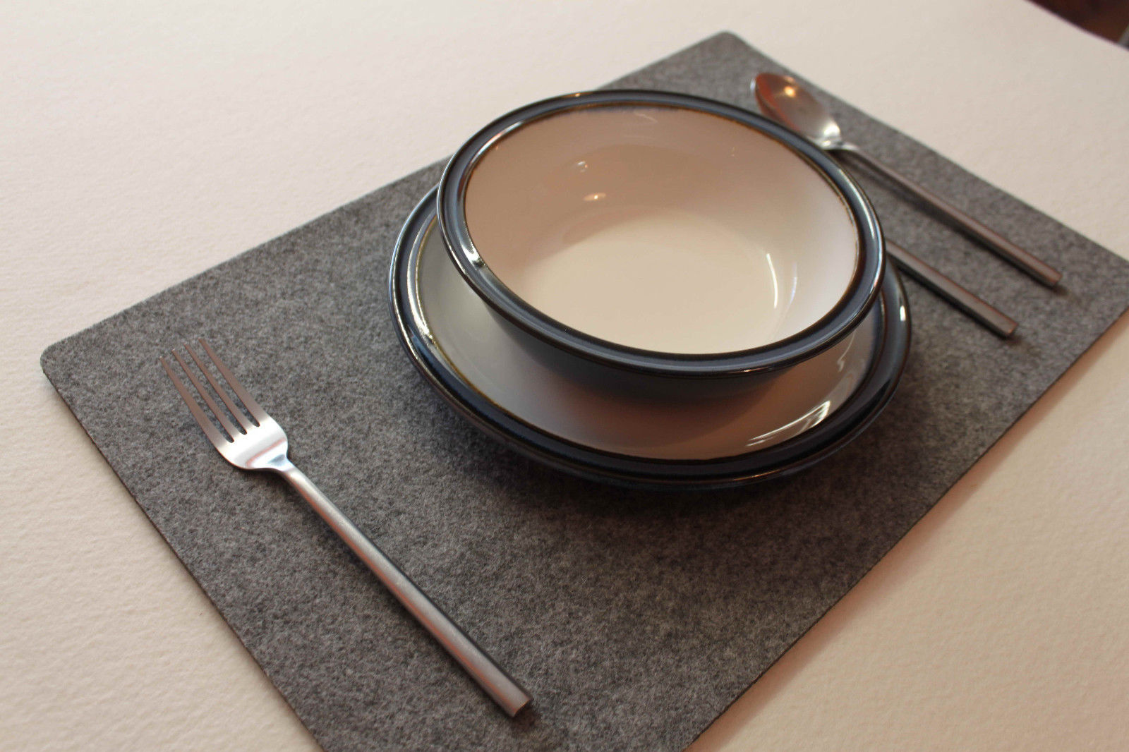 ONLY GREY Large Felt Placemats 17 x 11 inch. Rectangle Place Mat Set of 6 - $25.32