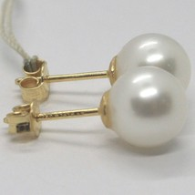 YELLOW GOLD EARRINGS 750 18K, WHITE PEARLS, FRESHWATER, POLE image 2