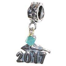 Graduation Cap 2017 December Turquoise Birthstone Sterling Silver Dangle... - €18,98 EUR