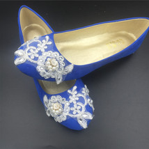 Cobalt blue Wedding Shoes,Cobalt blue Bridal Flats Shoes,Wedding Ballet ... - $38.00