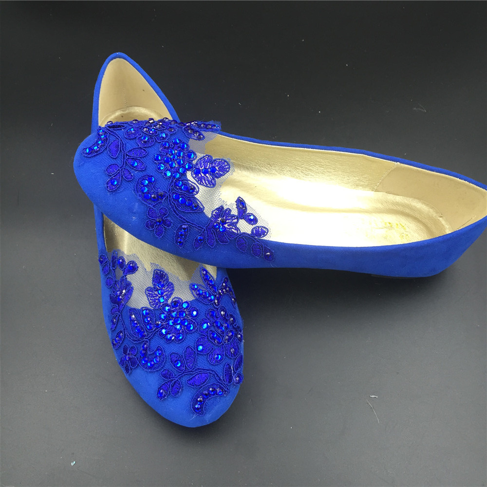 Primary image for Round Toe Cobalt Blue Wedding Flats Shoes,Royal Blue Women Bridal Slipper Shoes