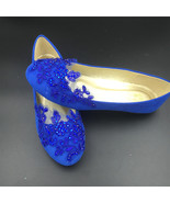Round Toe Cobalt Blue Wedding Flats Shoes,Royal Blue Women Bridal Slippe... - $38.00