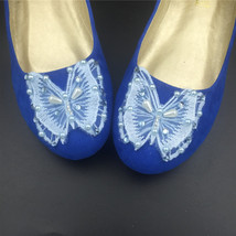Blue Butterfly Wedding Flats Shoes,Royal Blue Bridal Ballet Flats Shoes US12 image 2