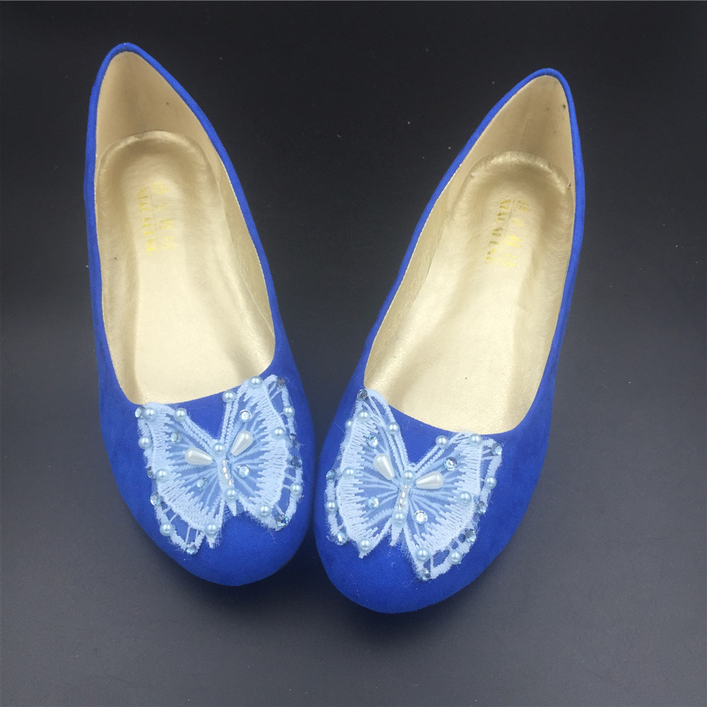 Blue Butterfly Wedding Flats Shoes,Royal Blue Bridal Ballet Flats Shoes US12