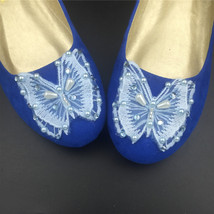 Blue Butterfly Wedding Flats Shoes,Royal Blue Bridal Ballet Flats Shoes US12 image 3