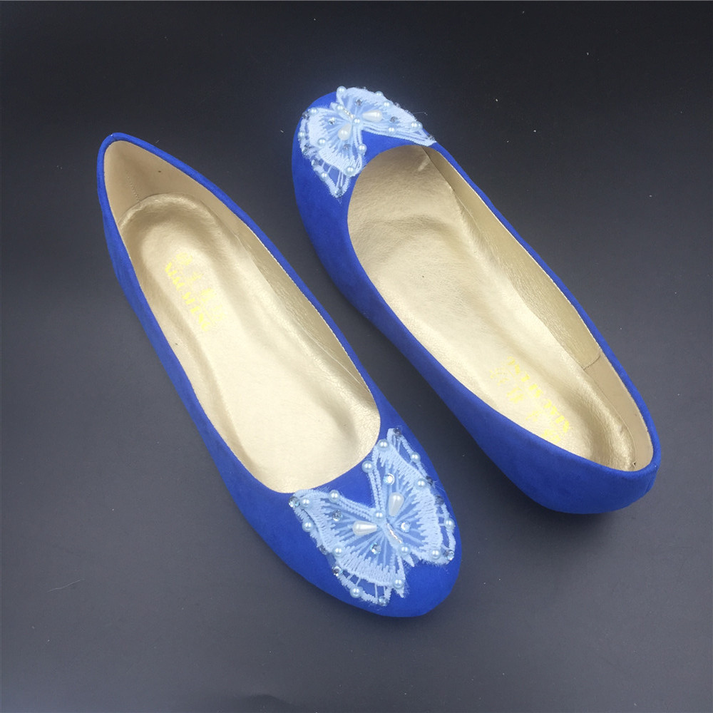 Blue Butterfly Wedding Flats Shoes,Royal Blue Bridal Ballet Flats Shoes US12 image 5