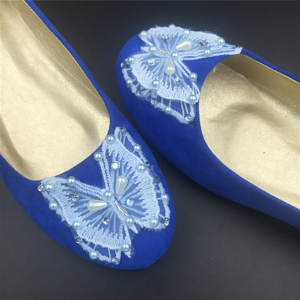 Blue Butterfly Wedding Flats Shoes,Royal Blue Bridal Ballet Flats Shoes US12 image 4