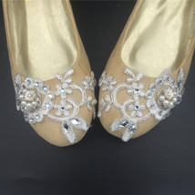 Wedding shoes gold champagne silver metallic Lace Bridal Ballet Flats Shoes image 3