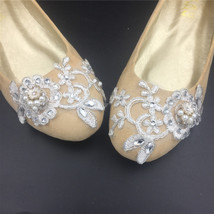 Wedding shoes gold champagne silver metallic Lace Bridal Ballet Flats Shoes image 5