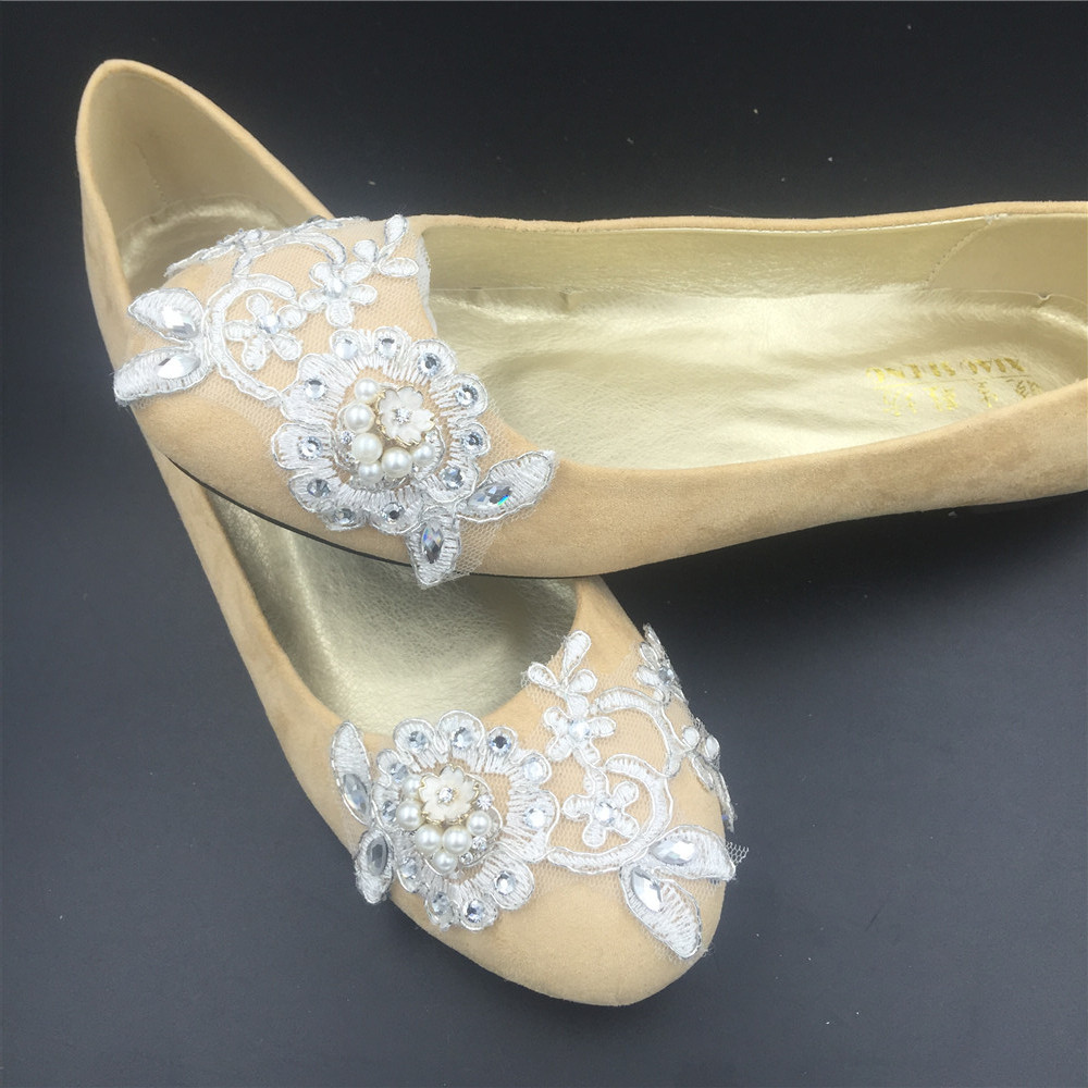 Wedding shoes gold champagne silver metallic Lace Bridal Ballet Flats Shoes image 2