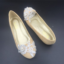Wedding shoes gold champagne silver metallic Lace Bridal Ballet Flats Shoes image 4