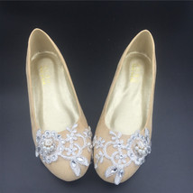 Wedding shoes gold champagne silver metallic Lace Bridal Ballet Flats Shoes - $38.00