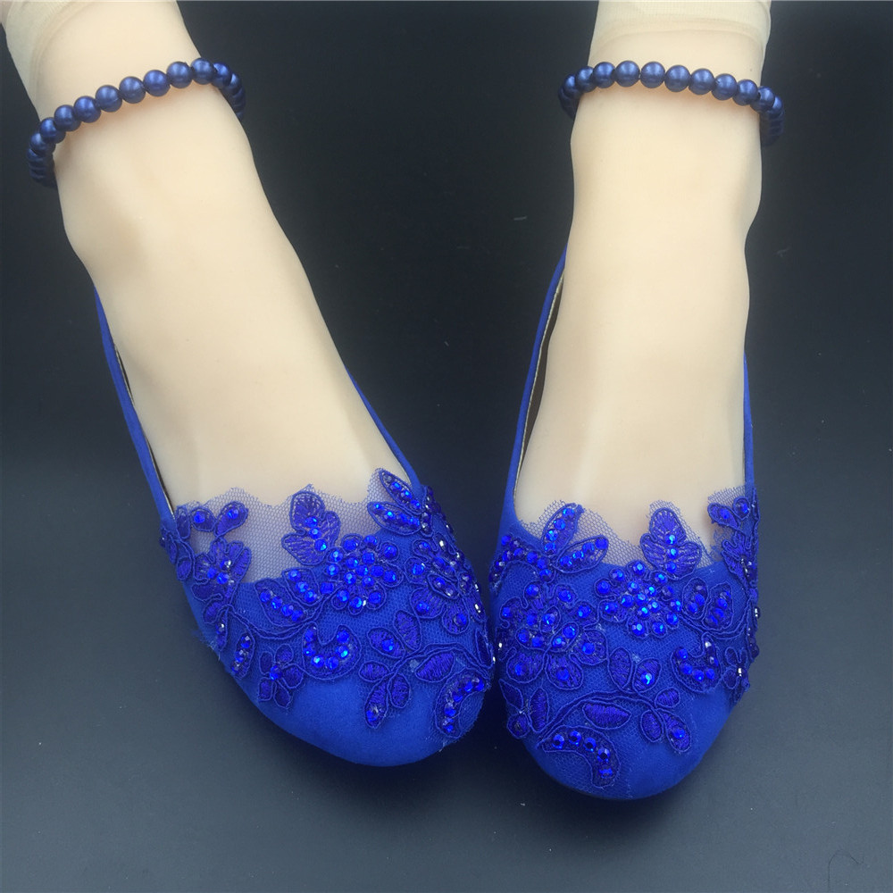 Primary image for Cobalt blue Wedding ballet flats vintage lace bridal shoes Pearl ankle tie strap
