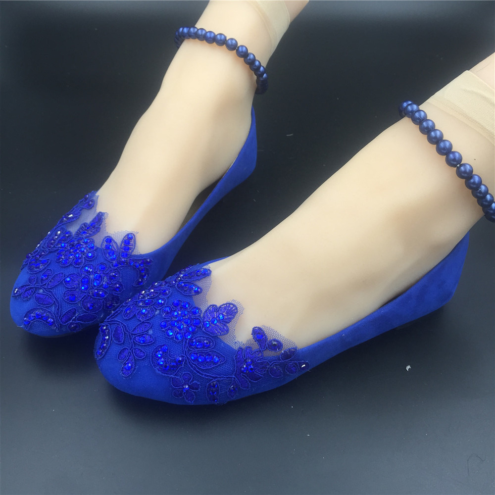 Royal Blue Pearl Ankle Tie Strap Wedding Ballet Flats