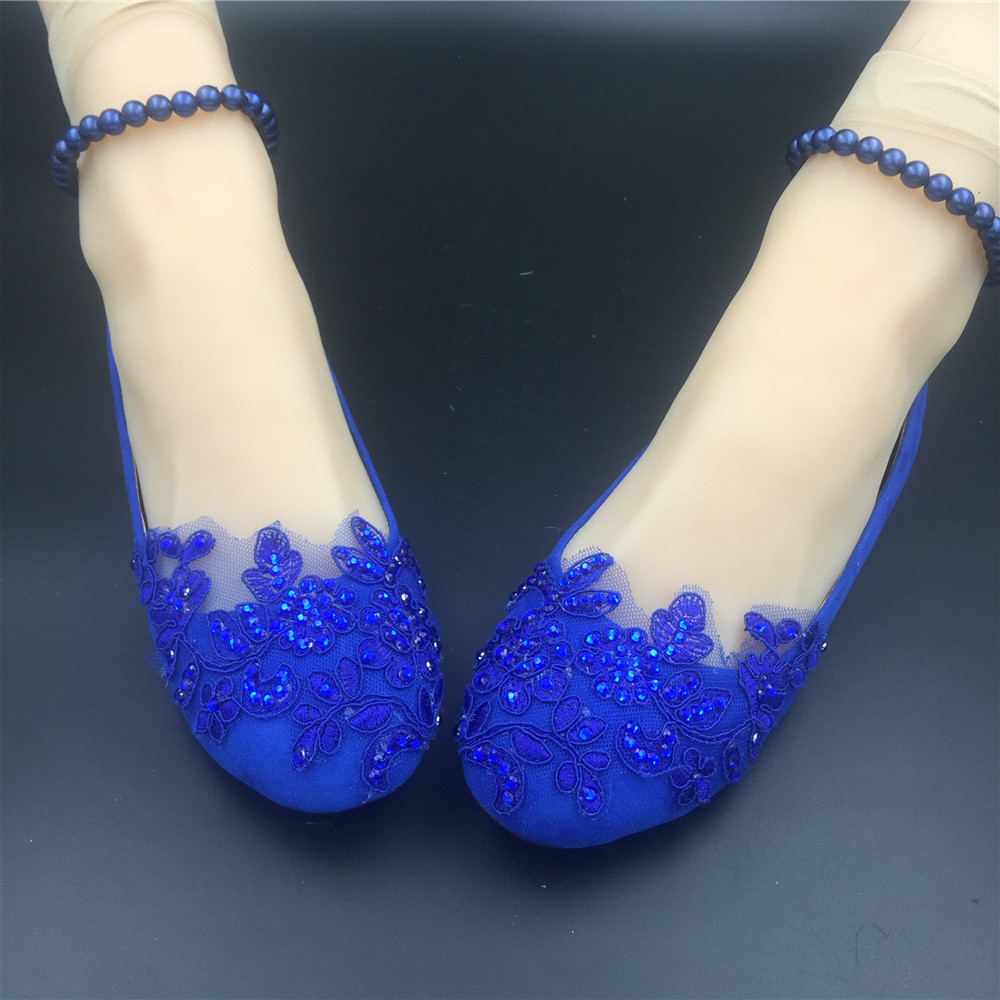 Primary image for Royal blue Pearl ankle tie strap Wedding ballet flats vintage lace bridal shoes