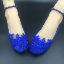 Royal blue Pearl ankle tie strap Wedding ballet flats vintage lace brida... - $38.00