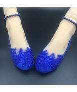Royal blue Pearl ankle tie strap Wedding ballet flats vintage lace brida... - $38.00