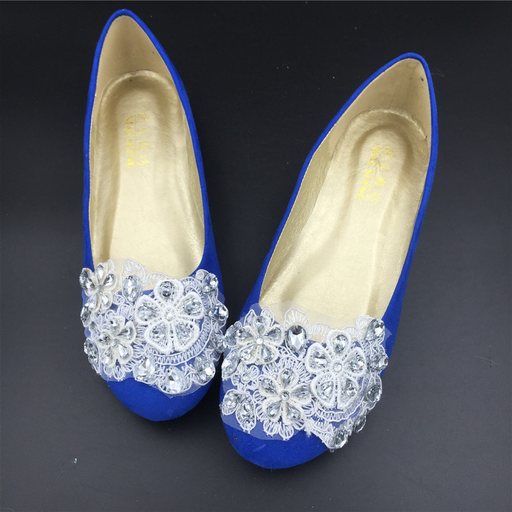 Primary image for Cobalt blue Crystals Wedding Shoes,Cobalt blue Crystals Bridal Flats Shoes