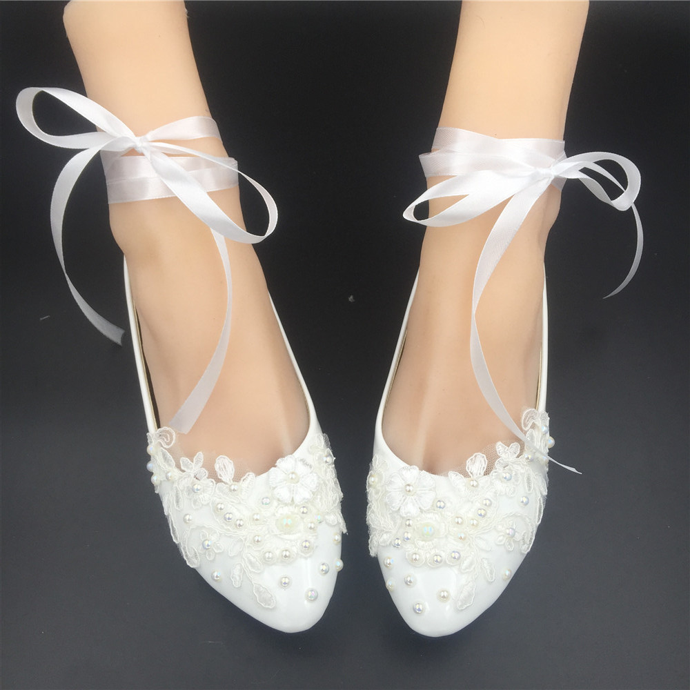 Primary image for Women Pointed Bridal Ballet Flats/Wedding Flats/Ballerinas Shoes with Ribbons