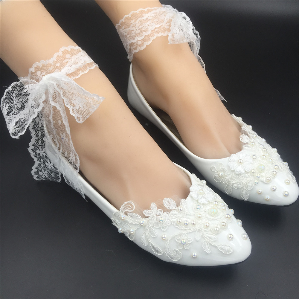 Primary image for Women Ribbon Style Bridal Ballet Flats/Wedding Flat Shoes with Lace Ankel Straps