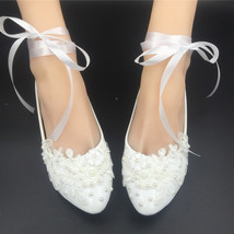 Girls Ivory White Bridal Ballet Flats Shoes/Wedding Flats Shoes with Ribbons  image 4