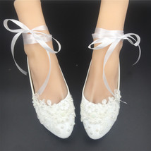 Girls Ivory White Bridal Ballet Flats Shoes/Wedding Flats Shoes with Ribbons  image 2