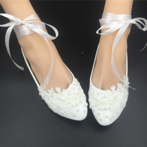 Girls Ivory White Bridal Ballet Flats Shoes/Wedding Flats Shoes with Ribbons  image 3