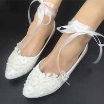 Girls Ivory White Bridal Ballet Flats Shoes/Wedding Flats Shoes with Rib... - $38.00
