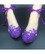 Purple Ribbon ankle tie strap Wedding ballet flats vintage lace bridal s... - $38.00