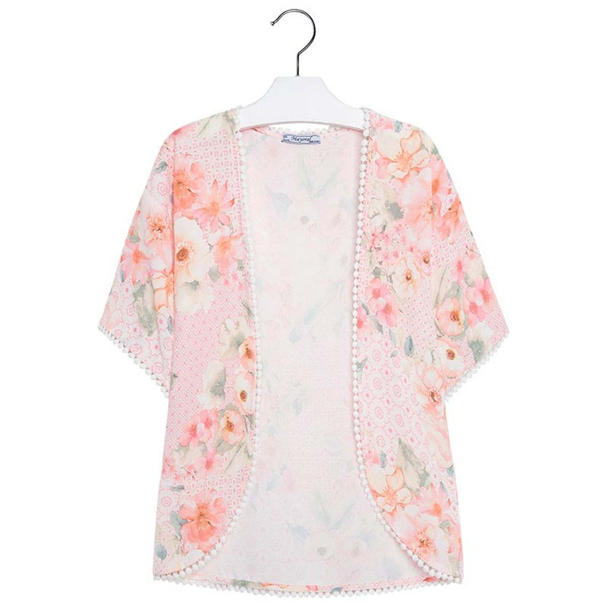Mayoral Big Girl Tween 7-18 Floral Print Open Front Shirt / Contemporary Kimono