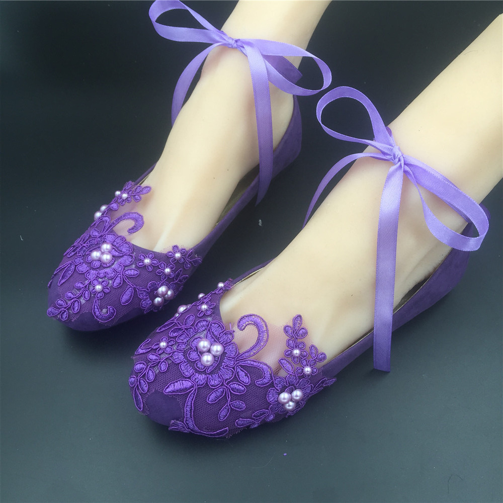 Primary image for Purple Mother of the Bride Wedding ballet flats Shoes vintage lace bridal shoes