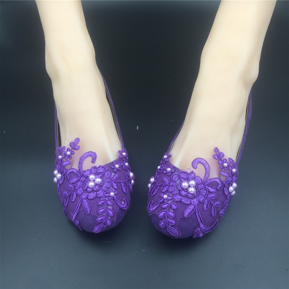 Round Toe Dark Purple Wedding Flats Shoes,Purple Women Bridal Slipper Shoes image 2