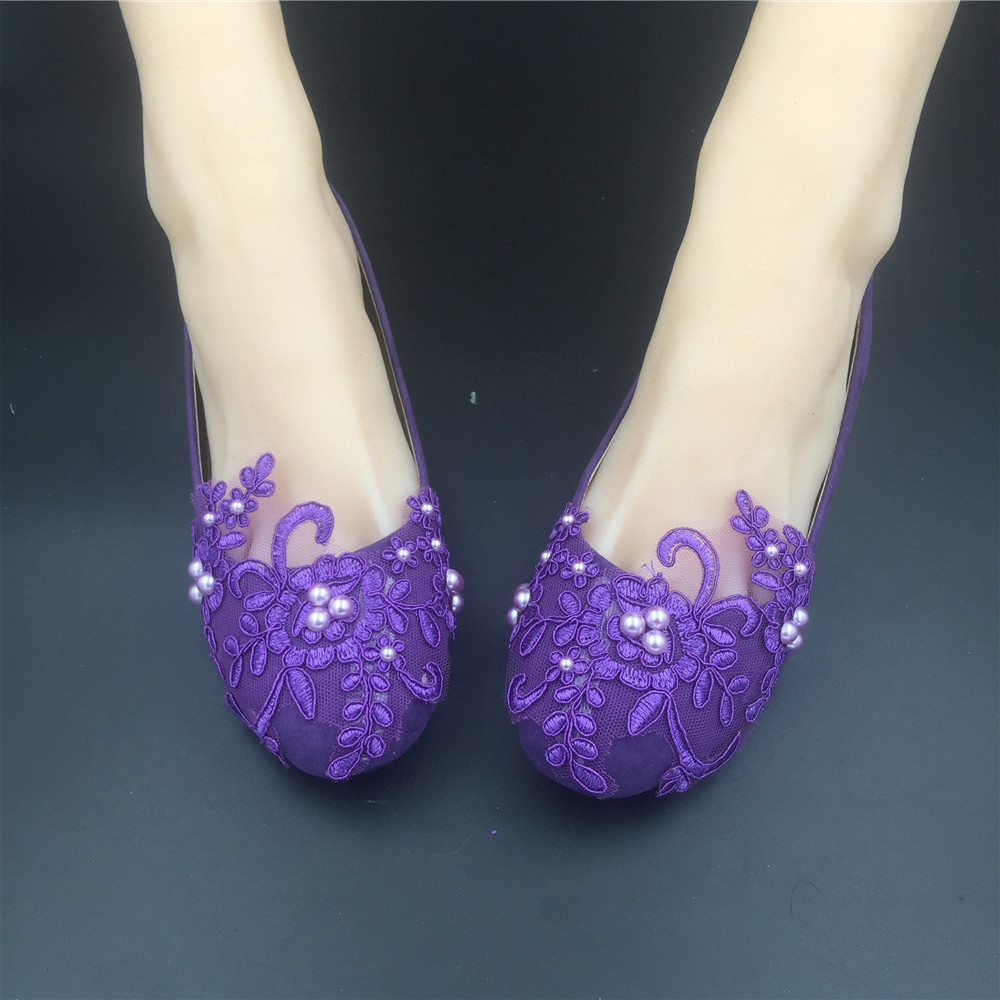 Round Toe Dark Purple Wedding Flats Shoes,Purple Women Bridal Slipper Shoes image 3