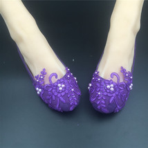 Round Toe Dark Purple Wedding Flats Shoes,Purple Women Bridal Slipper Shoes image 4