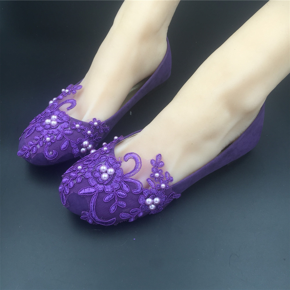 Round Toe Dark Purple Wedding Flats Shoes,Purple Women Bridal Slipper Shoes image 5