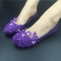 Round Toe Dark Purple Wedding Flats Shoes,Purple Women Bridal Slipper Shoes image 1