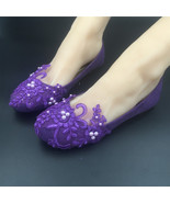 Round Toe Dark Purple Wedding Flats Shoes,Purple Women Bridal Slipper Shoes - $38.00