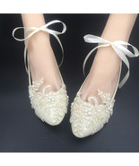 Wedding shoes gold champagne Ribbons Ankle Strips Lace Bridal Ballet Fla... - £30.95 GBP