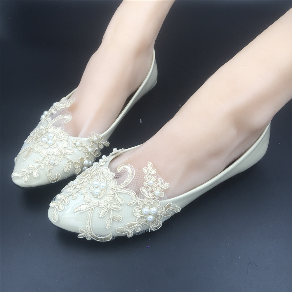 Ivory Bridal Flats Shoes/Beige Wedding Dress Prom Party