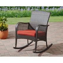 Rocking Chair Rocker Red Seat Cushion Outdoor Patio Porch Garden Furnitu... - $134.49