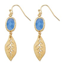 Blue Oval Bezel-Set Crystal Gold Tone Cutout Textured Leaf Drop Earrings (45mm) - $11.49