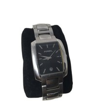 Mens Fossil All Stainless Steel Analog Black Dial Quartz Watch FS 4009 Date A2 - $35.15