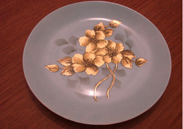 Arzberg Small Decorative Plate Blue with Gold Flowers - Made in Germany - $14.99