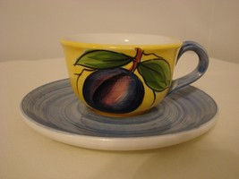 Handpainted Plum Cup and Saucer - Made in Italy - $32.50