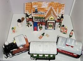 Dept 56 Train Station Snow Village 3 Piece Train Mailbox 8 Fitz Floyd Fi... - $199.95