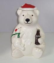 Coca Cola Cookie Jar  Coke Polar Bear Santa Hat Ceramic 1998 Cookies Bottle - $29.97
