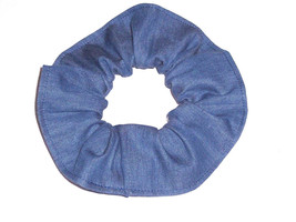 Hair Scrunchie Blue Jean Demin Fabric Ponytail Holder Ties Scrunchies by Sherry - $6.92+