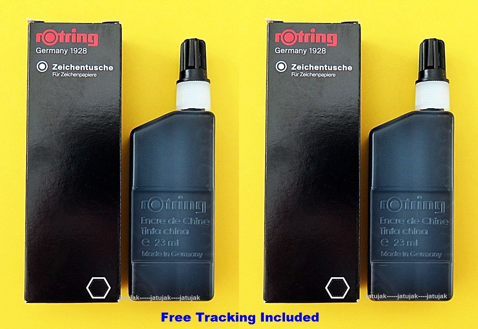 2X Rotring Drawing Ink Refill Bottle Black 23 ml Isograph Technical Pen