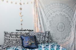 Ombre Wall Hanging Indian Mandala Tapestry Throw Queen Silver Bedspread ... - $377,61 MXN